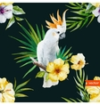 White parrot hibiscus tropical palm trees vector