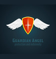 Shield and wings icon vector