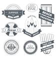 Summer equipment set label template of emblem vector
