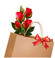 Holiday background with paper shopping bag with vector