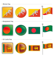 Bangladesh and sri lanka bhutan flag icon vector