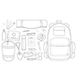 Camping set line-art vector
