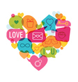 Valentines day love card - with flat icons vector