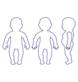 Full length front side back view standing baby vector