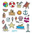 Beach day doodle vector