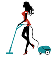 Girl with vacuum cleaner vector