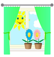 Two flowers on the windowsill vector