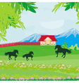 Horses grazing in a pasture with mountains vector