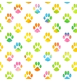 Seamless pattern with watercolor animal footprint vector