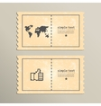 Stickers with finger raised up world map vector