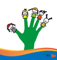 Cute happy cartoon kids on fingers vector