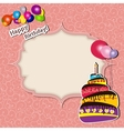 Birthday card with cake and balloons vector
