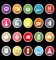 Home kitchen icons with long shadow vector