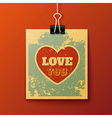 Hanging love you retro card vector