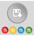 Floppy icon flat modern design set colour buttons vector