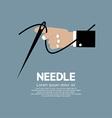 Needle in hand vector