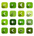 Green flat design arrows set in rounded squares vector