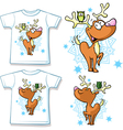 Kid shirt with cute reindeer and owl printed - vector