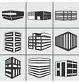 Buildings web sticker icons set vector
