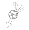 Sketch of the flying football ball with arrow vector
