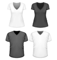 Women and men v-neck t-shirt short sleeve vector