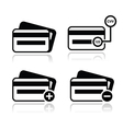 Credit card cvv code black icons set with shadow vector