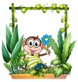 A monkey holding a flower vector