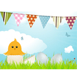 Easter chick and bunting vector