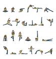 Cartoon character woman practicing yoga vector