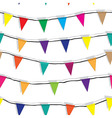 Seamless string of christmas flags on garland vect vector