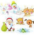 Santa claus with snowman cute christmas animals - vector