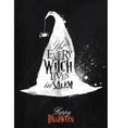 Witch hat halloween poster chalk vector