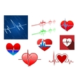 Hearts with beat frequency icons vector