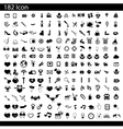 Black 182 universal web icons set on gray vector