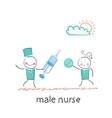 Male nurse with a syringe and pills in the hands vector