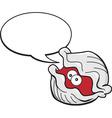 Cartoon clam with caption balloon vector