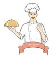 Nice chef serving the dish banner for text vector