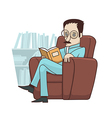 Reading book in armchair vector