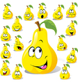 Pear cartoon with many expressions vector