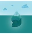 Polygonal iceberg glacier landscape with clouds vector