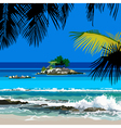 Tropical coast and the island in the ocean vector