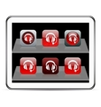 Call center red app icons vector