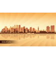Miami city skyline silhouette background vector