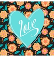 Postcard with turquoise heart on dark floral vector