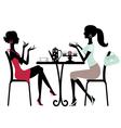 Silhoette women in cafe vector