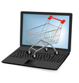 Notebook laptop shopping cart vector