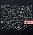 Chalkboard wedding doodles vector