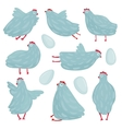 Funny hen poses and eggs collection vector