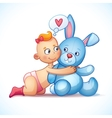 Baby girl redhead hugs bunny toy on a white vector