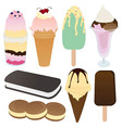 Icecream collection set vector
